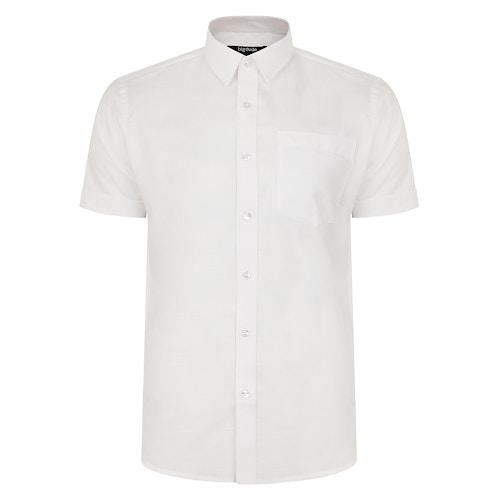 Bigdude Short Sleeve Linen Woven Shirt White