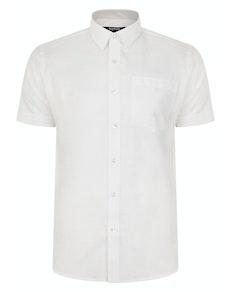 Bigdude Short Sleeve Linen Woven Shirt White Tall