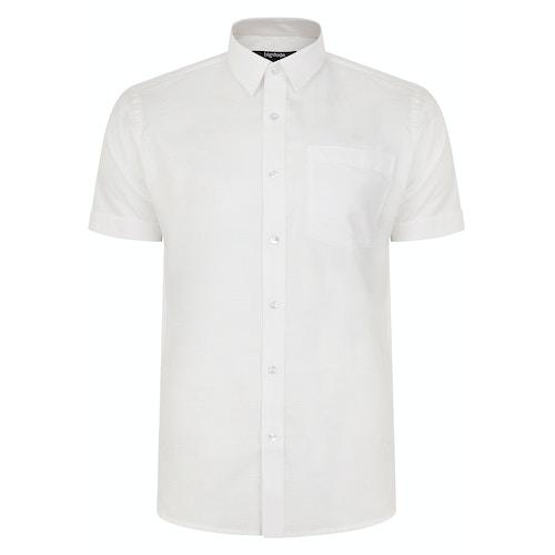 Bigdude Kurzarm Leinenhemd Weiß Tall Fit
